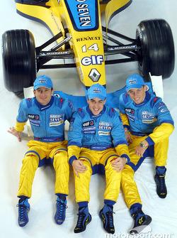 Jarno Trulli, Fernando Alonso y Jenson Button