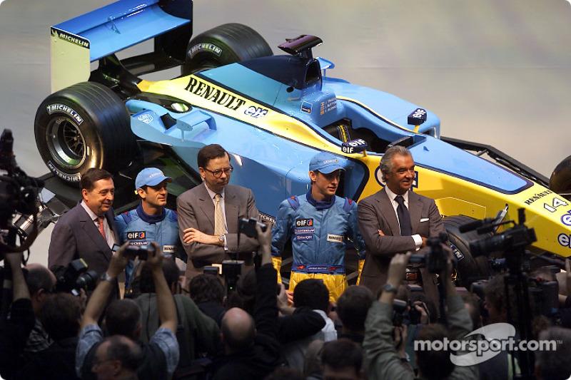 Patrick Faure, Jarno Trulli, Louis Schweitzer, Jenson Button y Flavio Briatore