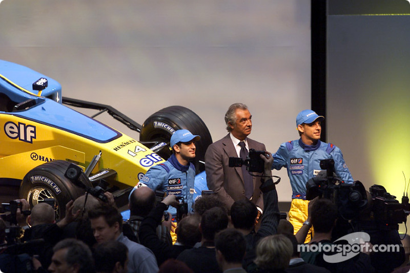 Jarno Trulli, Flavio Briatore and Jenson Button