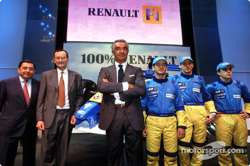 Patrick Faure, Flavio Briatore, Jarno Trulli, Jenson Button y Fernando Alonso