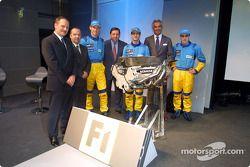 Jean-Jacques His, Mike Gascoyne, Jenson Button, Patrick Faure, Jarno Trulli, Flavio Briatore et Fernando Alonso