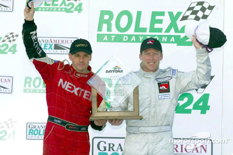 Grand-Am Cup Street Stock Series: overall winners Scott Maxwell and Dave Empringham wave from Daytona's Victory Lane
