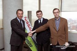RPM Racing presentation: Cesare Fiorio (Technical Director), Jaime Alguersuari, President of RPM, and Jordi Castells (Sporting Director)