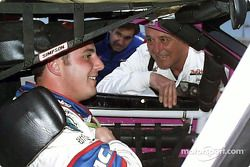 Jim Sauter discussing with son Johnny Sauter, in the IROC car