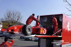 The Ferrari F2002 in the transporter
