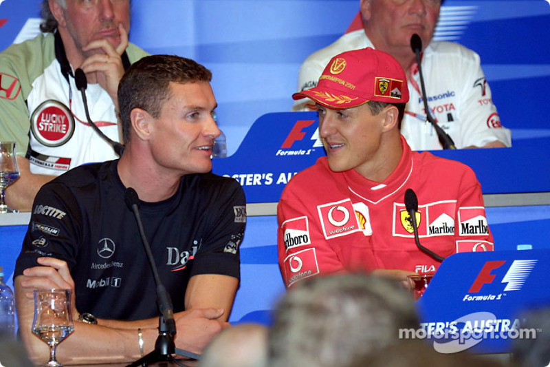 Thursday press conference: David Coulthard chatting with Michael Schumacher