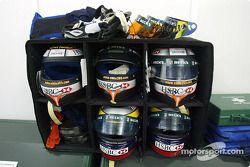 Equipo de carrera de los pilotos de Jaguar