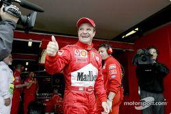 Rubens Barrichello feliz con su pole position