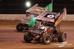The racing Kinsers battled it out in the qualifying dash for the Silver State Shootout; #5 Mark Kinser won the qualifying dash and led every lap of the World of Outlaws feature while #11 Steve Kinser finished second in the dash and third in the feature