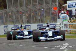 Nick Heidfeld y Felipe Massa antes de la carrera