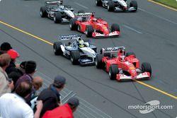 Start: Rubens Barrichello, Ferrari; Ralf Schumacher, Williams; Michael Schumacher, Ferrari