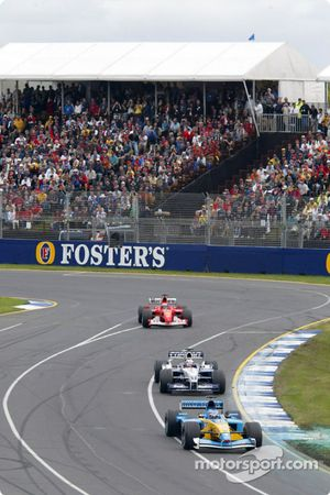 Jarno Trulli, Renault; Juan Pablo Montoya, Williams; Michael Schumacher, Ferrari