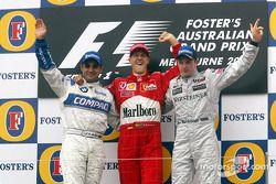 Подиум: победитель гонки Михаэль Шумахер, второй – Хуан-Пабло Монтойя, Williams, третий – Кими Райкконен, McLaren