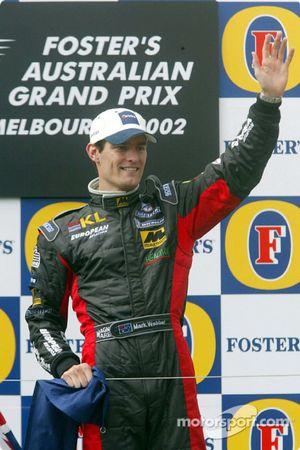 Mark Webber celebrating on the podium