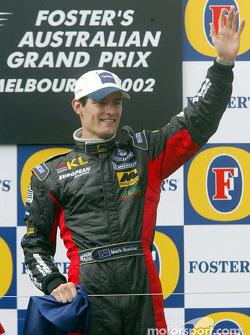 Mark Webber festif sur le podium