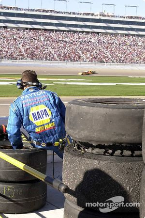 Michael Waltrip's damaged tire rests atop a stack of tires to be viewed by Goodyear