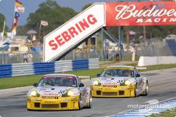 The two Alex Job Racing Porsches