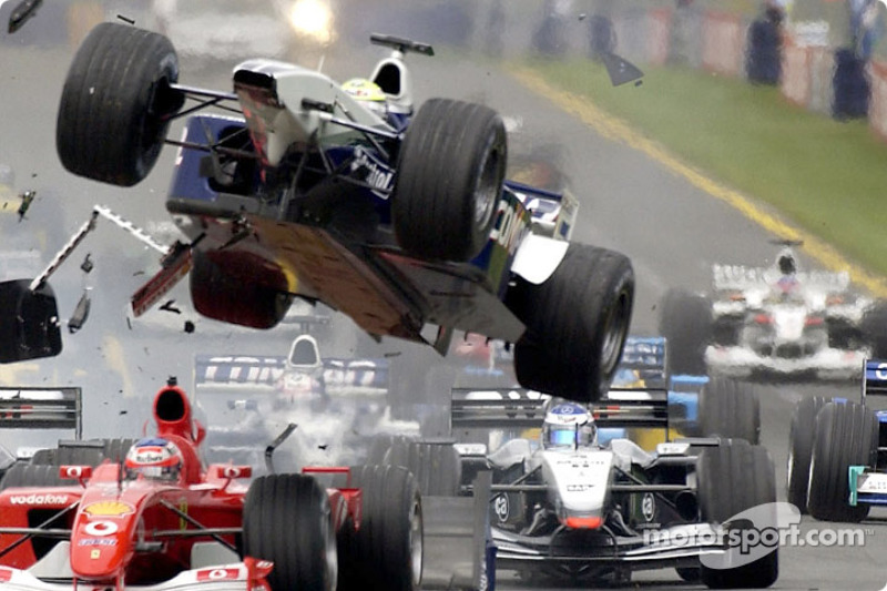First corner accident: Ralf Schumacher flying over Rubens Barrichello