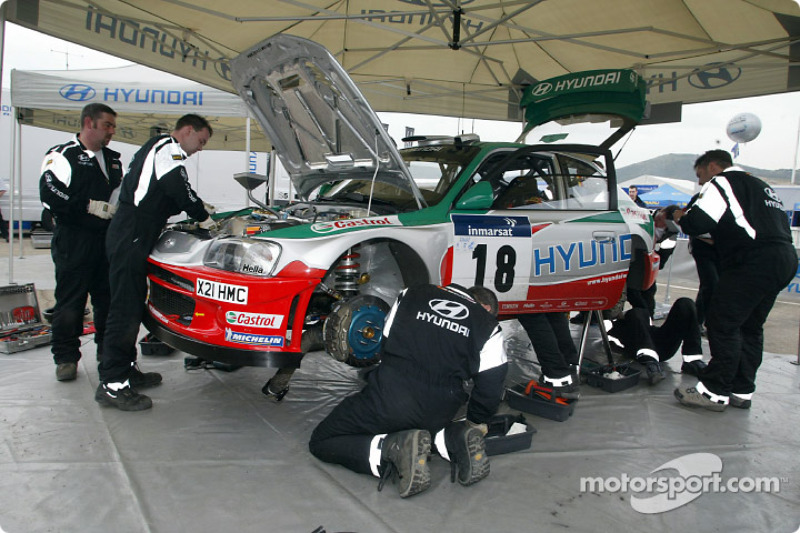Service on the Hyundai Accent WRC3