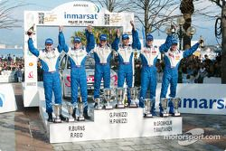 Podium: winners Hervé and Gilles Panizzi with second Marcus Gronholm and Timo Rautiainen, and third