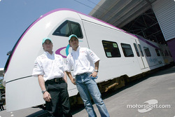 Visit at the KLIA Ekspres trainset: Nick Heidfeld and Felipe Massa