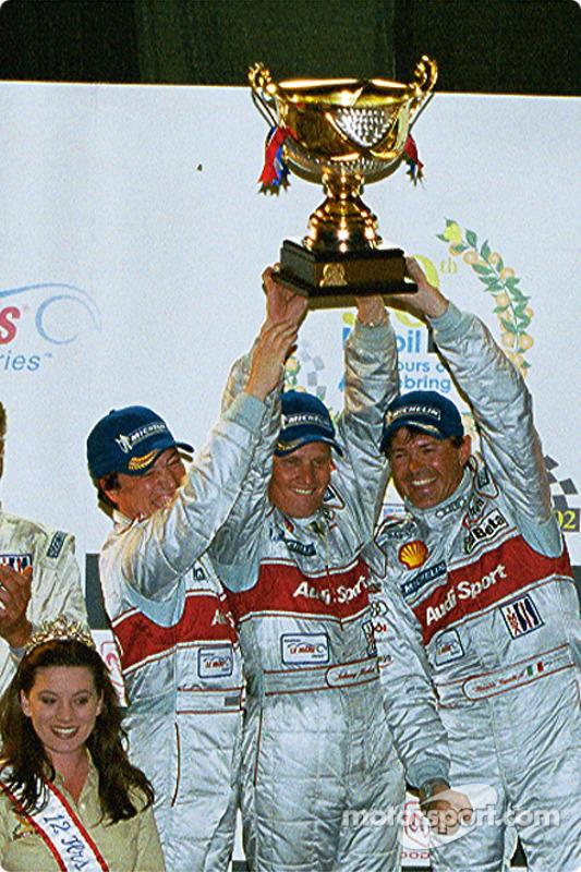 Race winners Christian Pescatori, Johnny Herbert and Rinaldo Capello