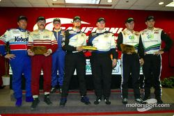 The AGT podium finishers at the Grand American 400