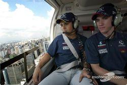 Helicopter ride for Felipe Massa and Nick Heidfeld