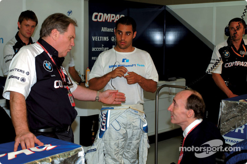 Patrick Head, Juan Pablo Montoya y Frank Williams