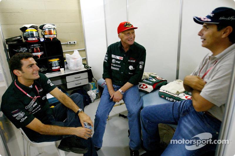 Pedro de la Rosa, Niki Lauda y Nelson Piquet