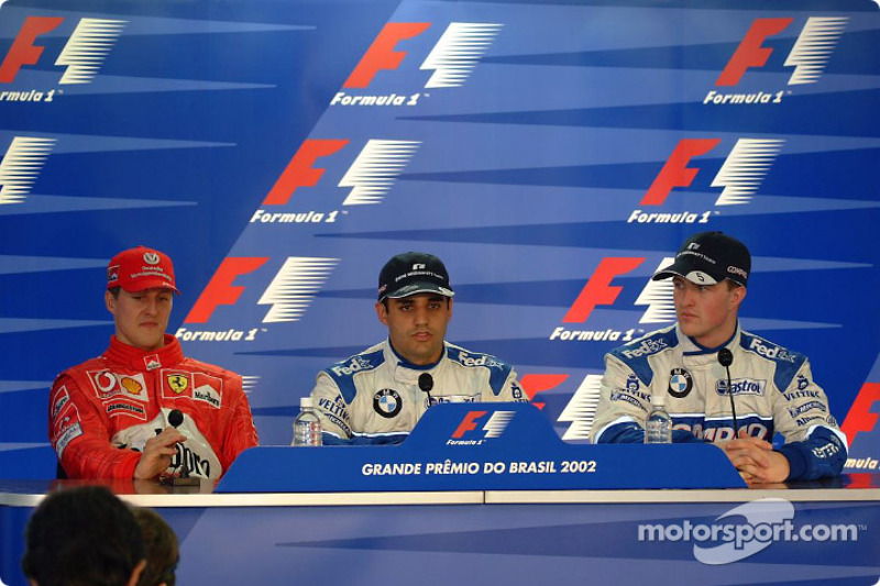 Press conference: pole winner Juan Pablo Montoya with Michael Schumacher and Ralf Schumacher