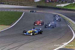 Jenson Button, Kimi Raikkonen y Rubens Barrichello