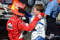 Le vainqueur Michael Schumacher et son frère Ralf