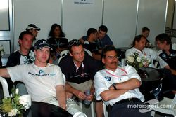 Ralf Schumacher and Dr Mario Theissen watching the F3000 race on Saturday