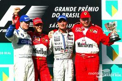 Podium: 1. Michael Schumacher mit Ralf Schumacher, David Coulthard und Ross Brawn