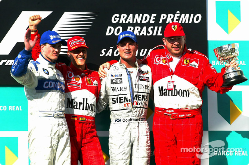 2002 : 1. Michael Schumacher, 2. Ralf Schumacher, 3. David Coulthard