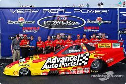 The crew of the 2002 Advance Auto Parts Funny Car, driven and owned by Cruz Pedregon, was awarded th