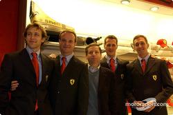 Apertura oficial de la Ferrari Store, Maranello: Luca Badoer, Rubens Barrichello, Jean Todt, Michae