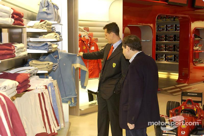 Official opening of Ferrari Store, Maranello: Michael Schumacher and Jean Todt