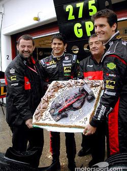 275 Grands Prix for Minardi: Paul Stoddart, Alex Yoong, Gian Carlo Minardi and Mark Webber