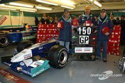 150 Grandes Premios para el Equipo Sauber: Felipe Massa, Peter Sauber y Nick Heidfeld