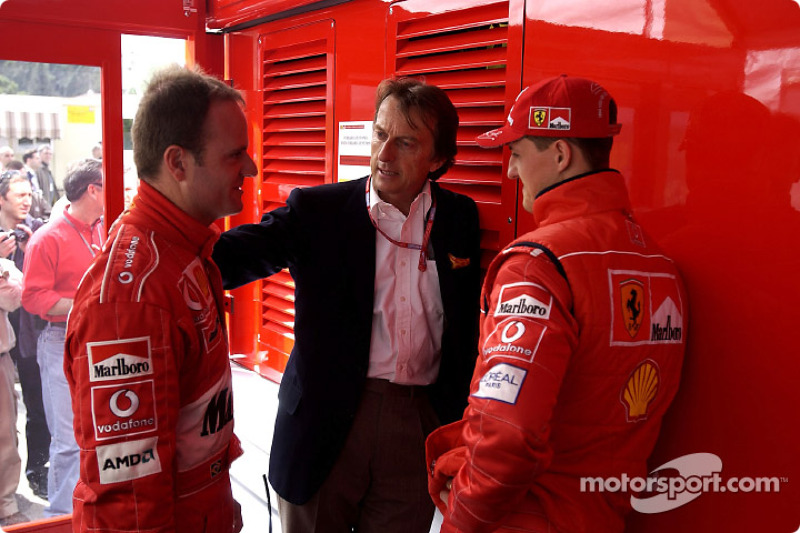 Rubens Barrichello, Luca di Montezemelo y Michael Schumacher
