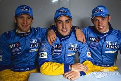 Jarno Trulli, Fernando Alonso et Jenson Button