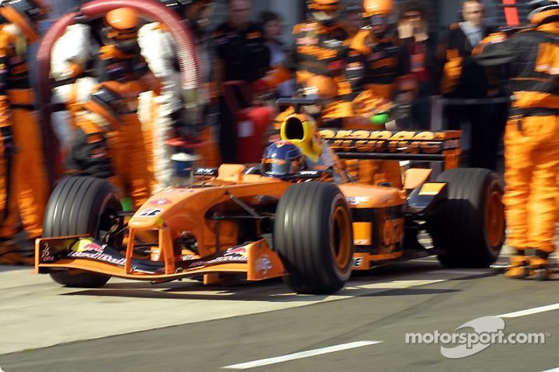 Pitstop simulation, Arrows: Heinz-Harald Frentzen leaving pit stop