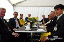 Eddie Jordan and Takuma Sato having lunch with Imperial Highness of Japan princess Akiko and Japan A