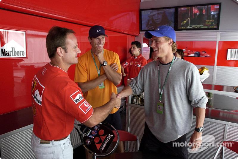 Rubens Barrichello y el campeón australiano de tenis, Lleyton Hewitt, número uno en el Tour de la AT