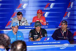Thursday basın toplantısı: Fernando Alonso, Pedro de la Rosa ve Marc Gene, front row, Kimi Raikkonen