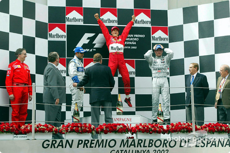 2002: 1. Michael Schumacher, 2. Juan-Pablo Montoya, 3. David Coulthard