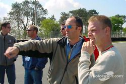 Panoz drivers check out the new additions to the Le Mans 24 Hours circuit: David Brabham and Jan Mag