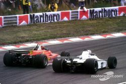They said it couldn't be done: Gilles Villeneuve passing Alan Jones from the exterior of the spectac